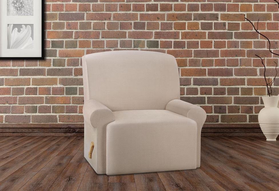 Ultimate Stretch Leather One Piece Recliner Slipcover Form Fit Machine Washable - Recliner / Pebbled Ivory