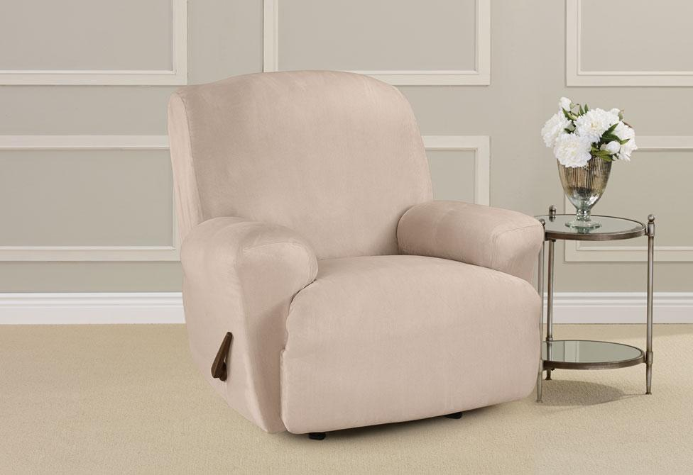 Ultimate Stretch Suede One Piece Recliner Slipcover Form Fit Machine Washable - Recliner / Cement