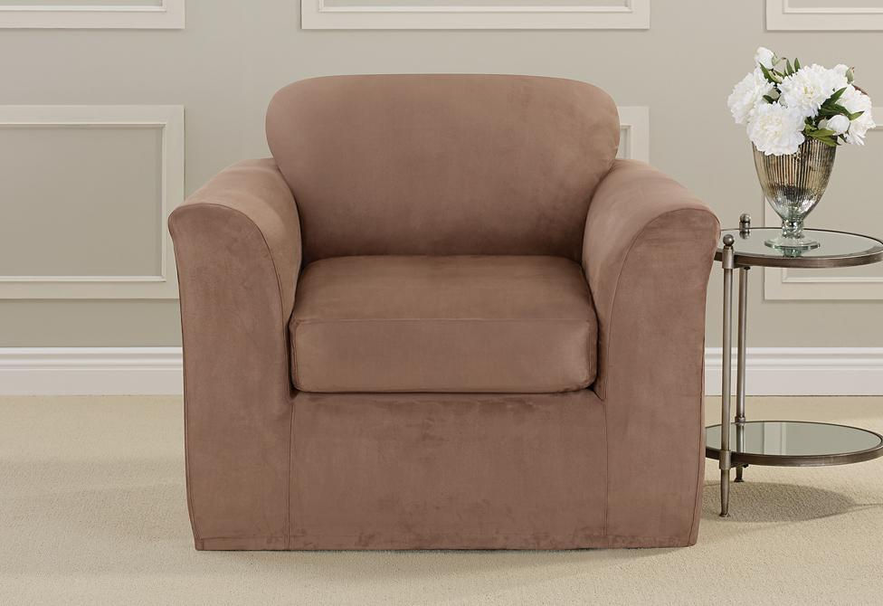 Ultimate Heavyweight Stretch Suede Two Piece Chair Slipcover