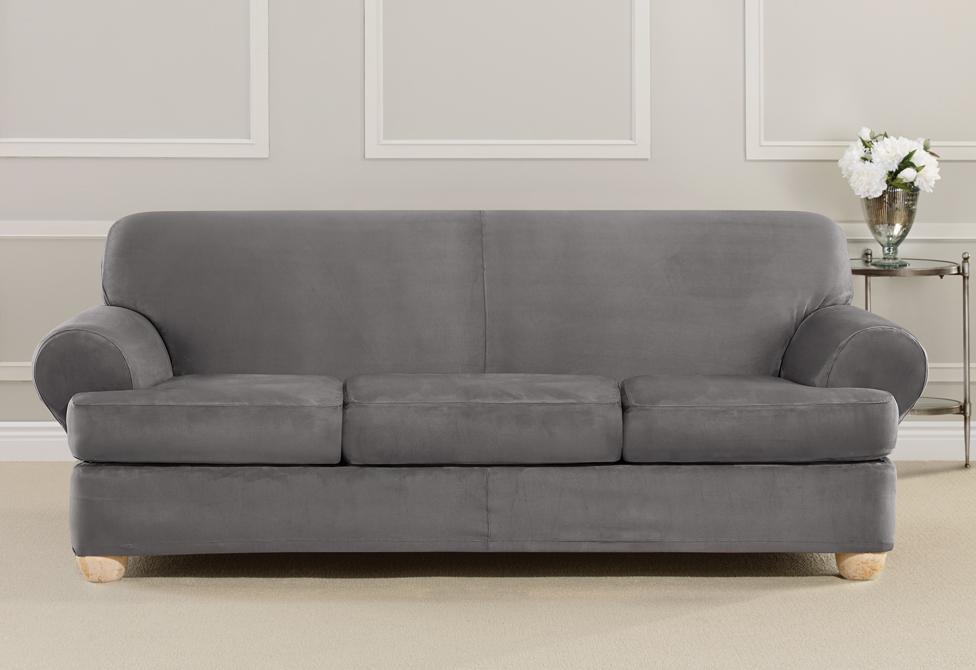 Ultimate Stretch Suede Four Piece Sofa Slipcover Form Fitting Indi Surefit