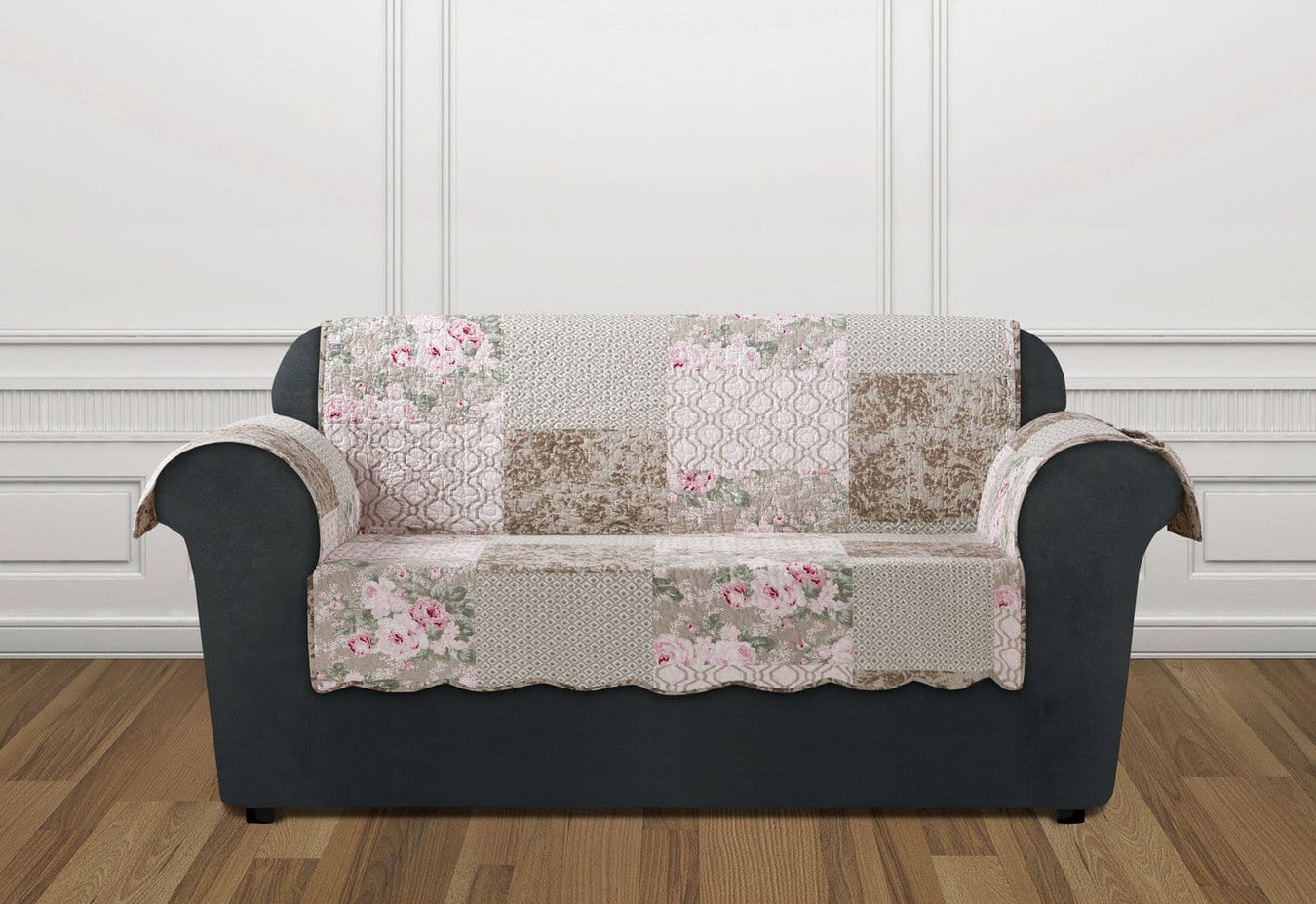 Heirloom Quilt Loveseat Furniture Cover | English Rose | 100% Cotton | Machine Washable