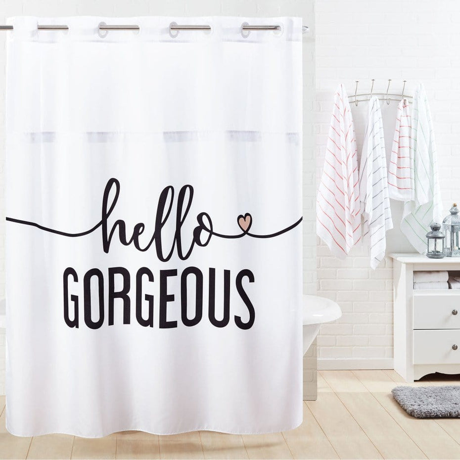 Hello Gorgeous Hookless Shower Curtain Multi