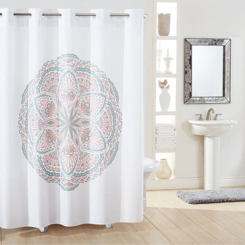 Henna Medallion Hookless Shower Curtain Blush