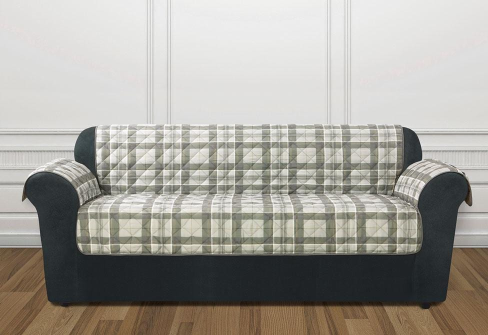 Highland Plaid Sofa Furniture Cover Gray Sofa Protector