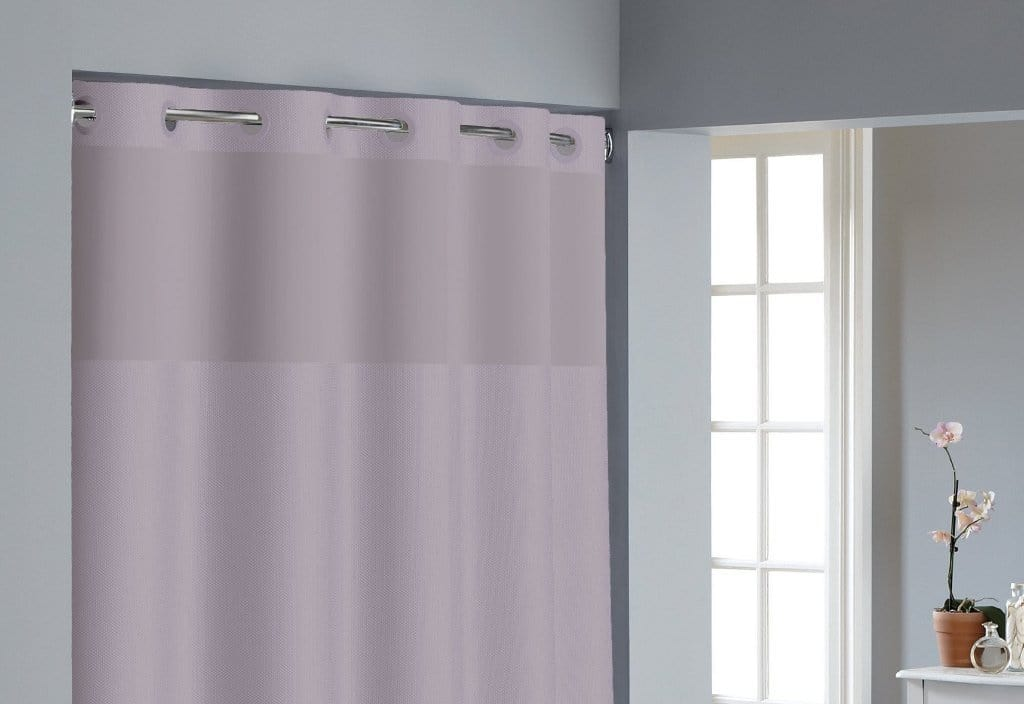 Hookless® Dobby Texture Shower Curtain Includes Snap On/Off Replaceable Liner - 71 x 74 / Lilac