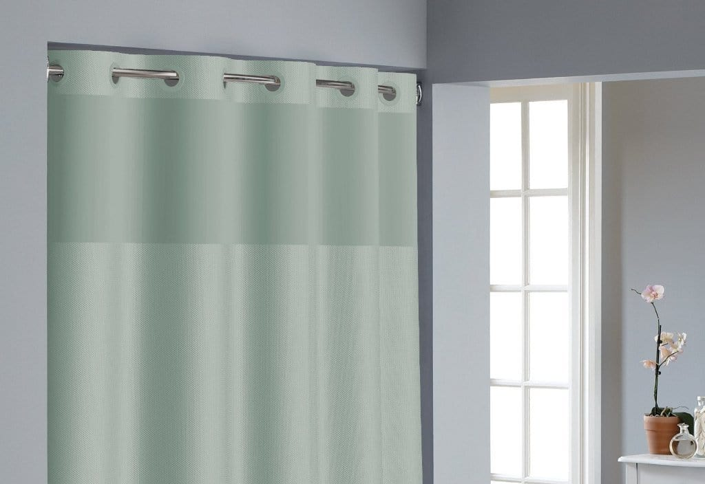 Hookless® Dobby Texture Shower Curtain Includes Snap On/Off Replaceable Liner - 71 x 74 / Sage
