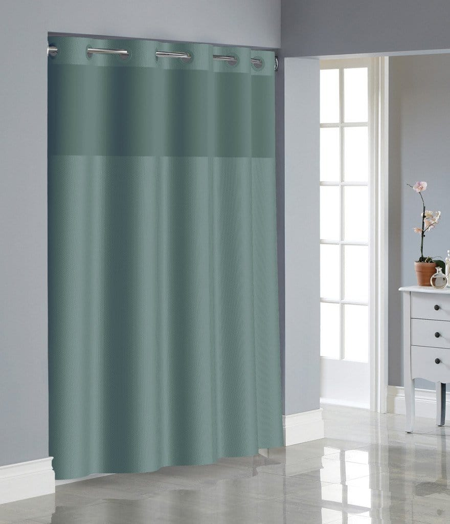 Hookless® Dobby Texture Shower Curtain Includes Snap On/Off Replaceable Liner - 71 x 74 / Teal