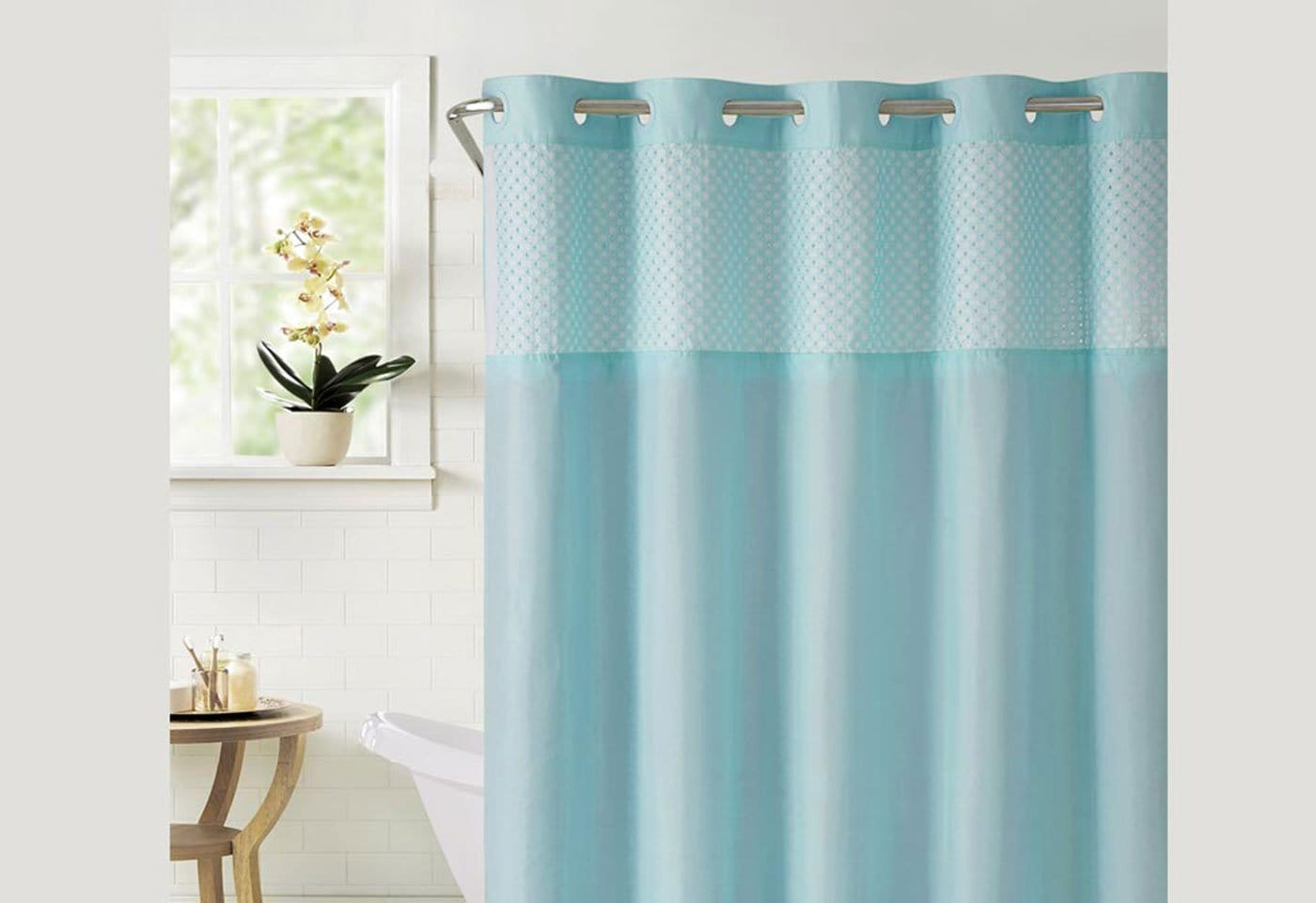 Hookless® Bahamas Shower Curtain Includes Snap On/Off Replaceable Liner - Crystal