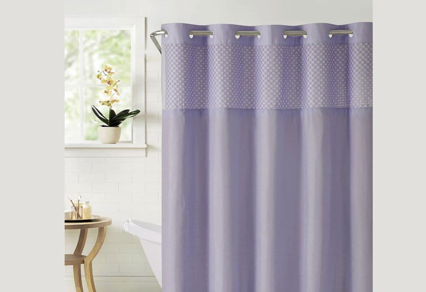Hookless® Bahamas Shower Curtain Includes Snap On/Off Replaceable Liner - Lilac