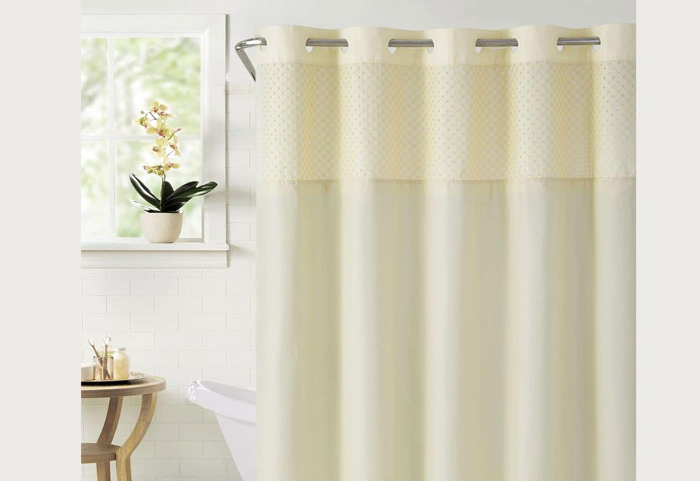 Hookless® Bahamas Shower Curtain Includes Snap On/Off Replaceable Liner - Vanilla