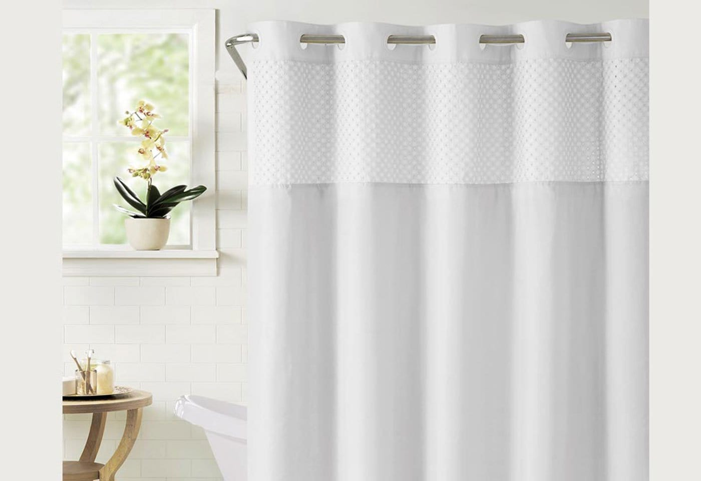Hookless® Bahamas Shower Curtain Includes Snap On/Off Replaceable Liner - White