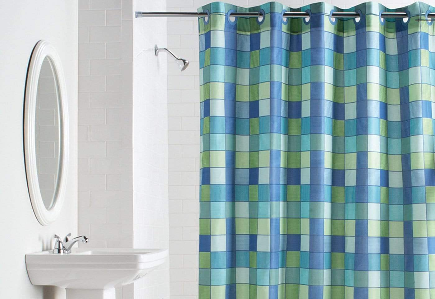 Hookless® Checkmate Shower Curtain - Blue/Green