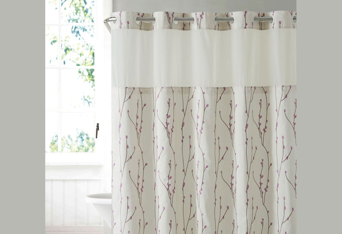 Hookless® Cherry Bloom Shower Curtain Includes Snap On/Off Replaceable Liner - Pearl/Taupe