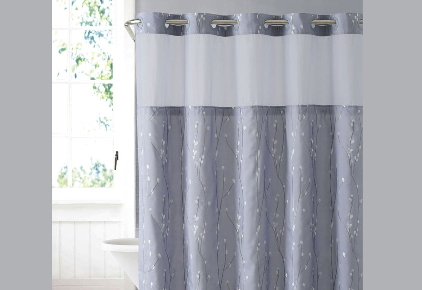 Hookless® Cherry Bloom Shower Curtain Includes Snap On/Off Replaceable Liner - Purple/Gray