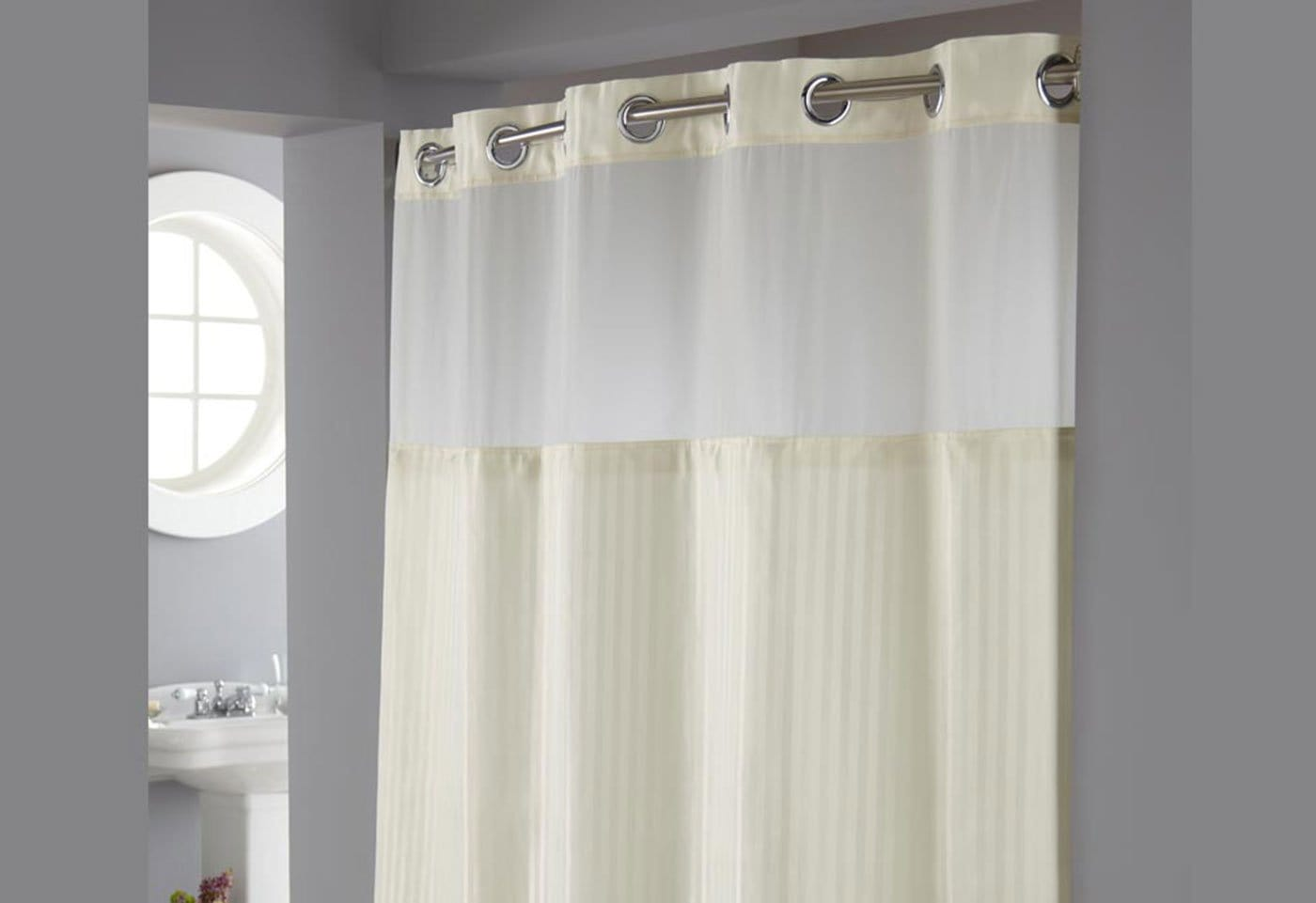 Hookless® Classic Herringbone Shower Curtain Includes Snap On/Off Replaceable Liner - Beige
