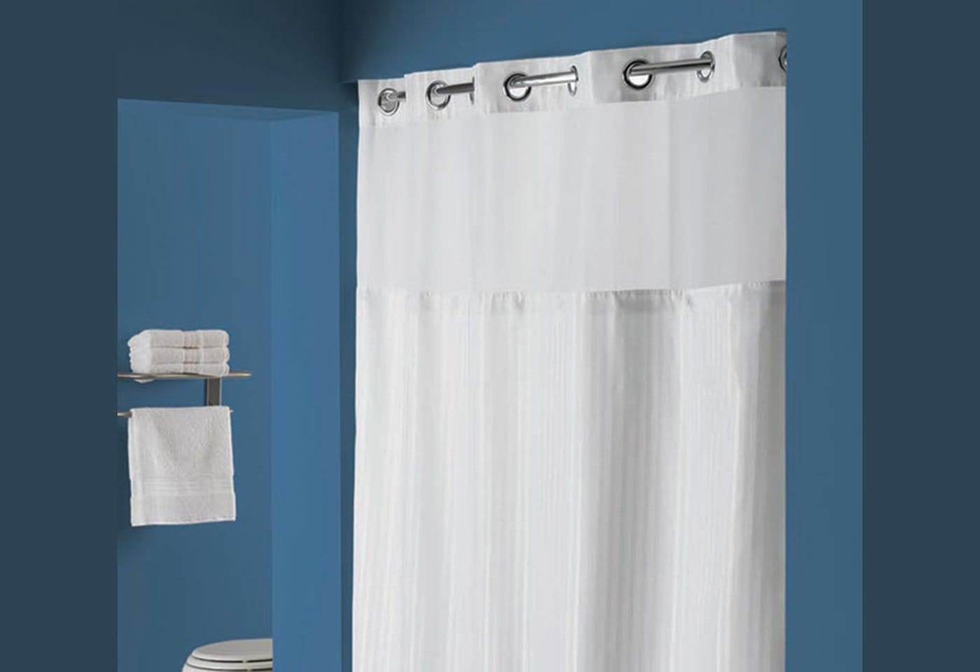 Hookless® Classic Herringbone Shower Curtain Includes Snap On/Off Replaceable Liner - White