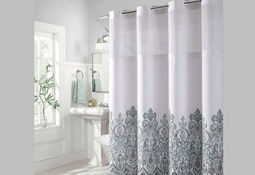 Hookless Damask Border Print Shower Curtain