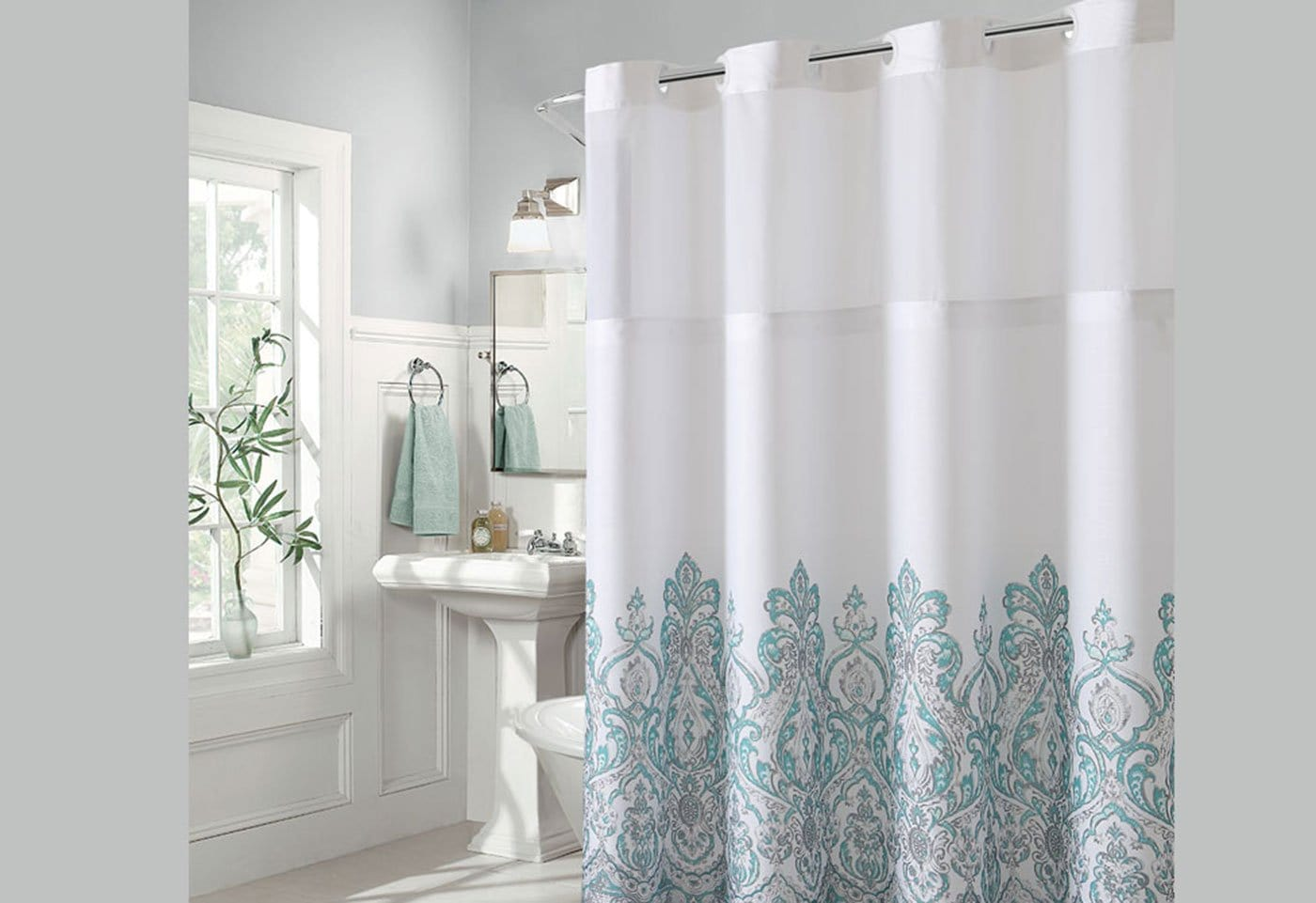Hookless Damask Border Print Shower Curtain Surefit