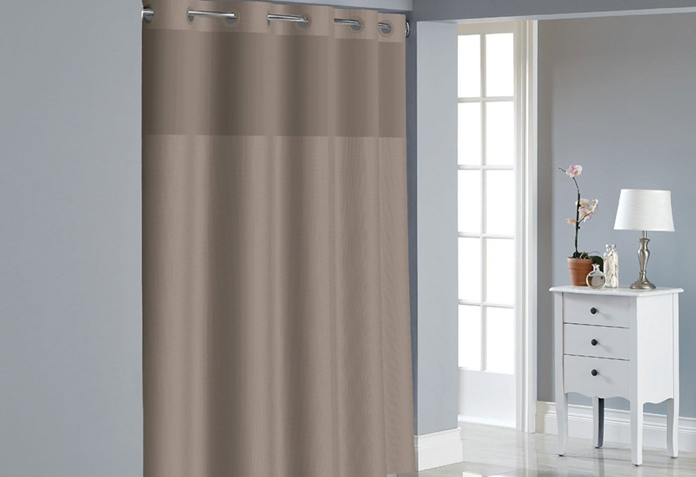 Hookless® Dobby Texture Shower Curtain Includes Snap On/Off Replaceable Liner - 71 x 74 / Desert Taupe