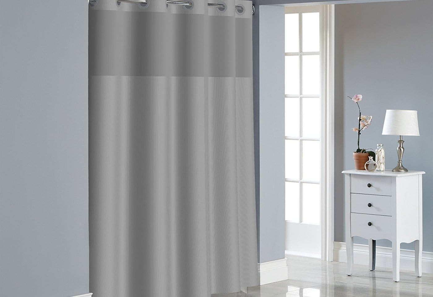 Hookless® Dobby Texture Shower Curtain Includes Snap On/Off Replaceable Liner - 71 x 74 / Drizzle