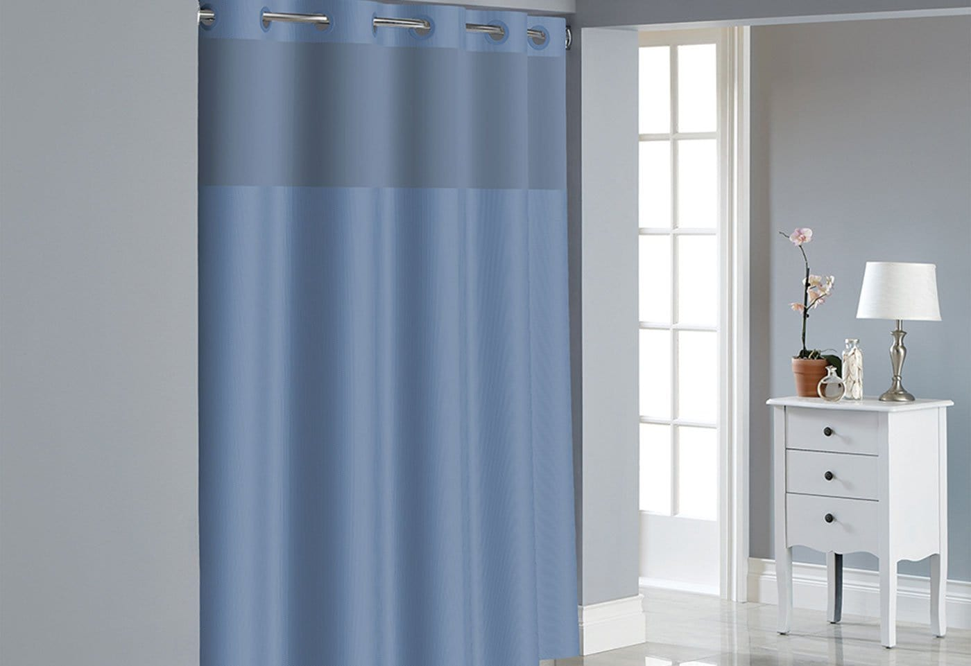 Hookless® Dobby Texture Shower Curtain Includes Snap On/Off Replaceable Liner - 71 x 74 / Midnight Blue