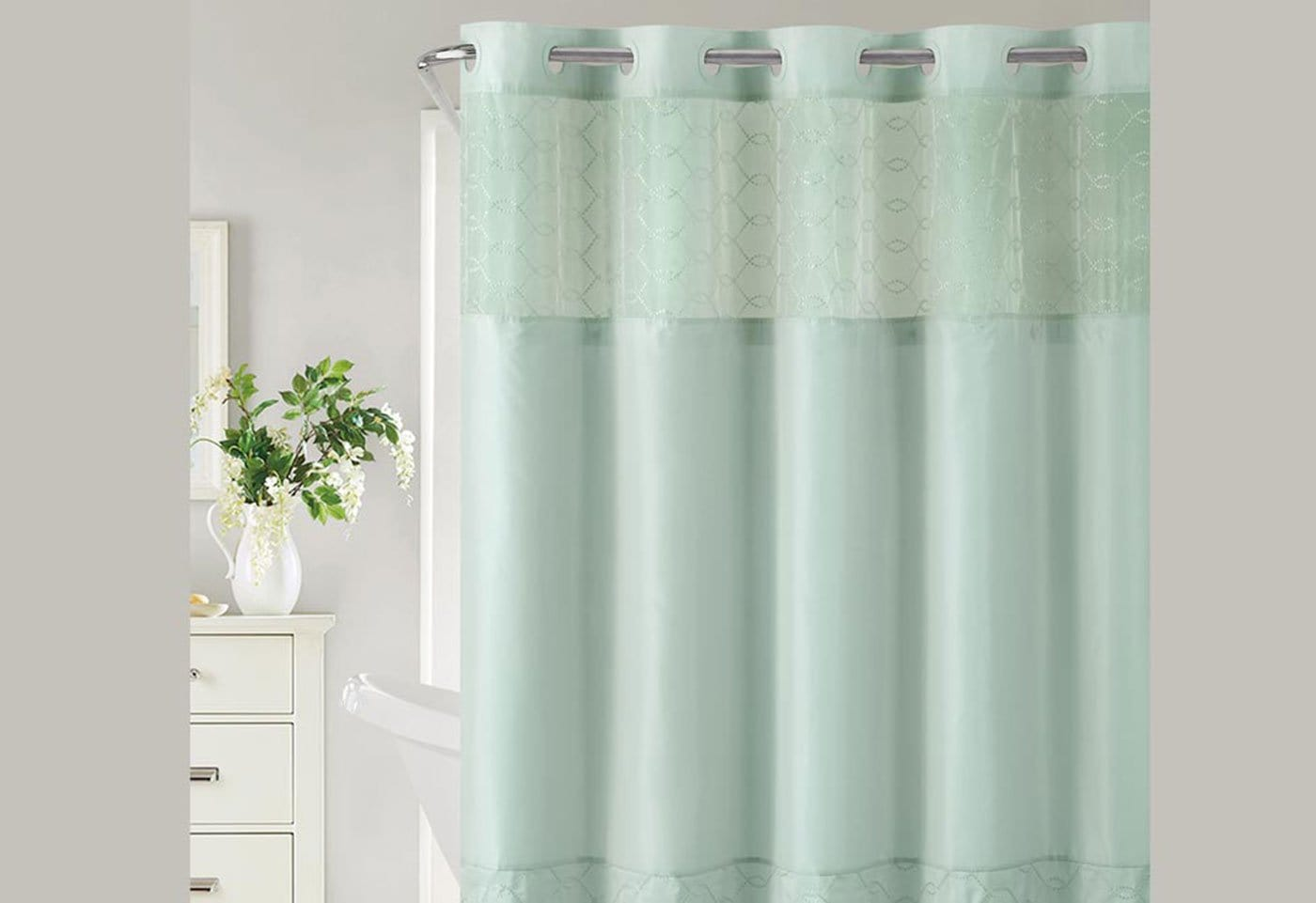 Hookless® Downtown Soho Shower Curtain Includes Snap On/Off Replaceable Liner - Blue