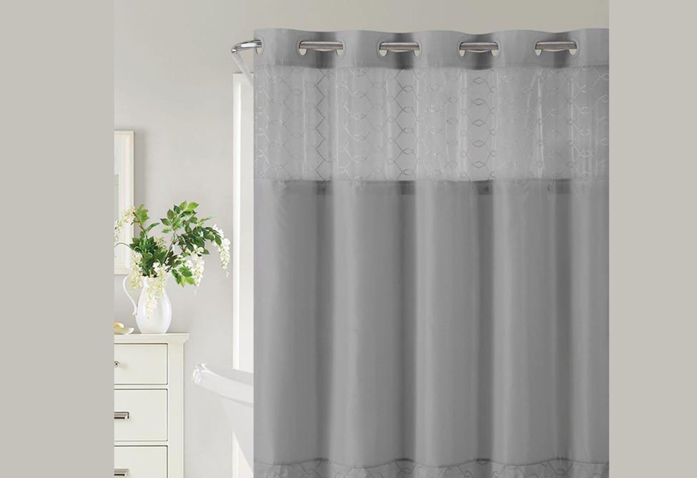 Hookless® Downtown Soho Shower Curtain Includes Snap On/Off Replaceable Liner - Slate