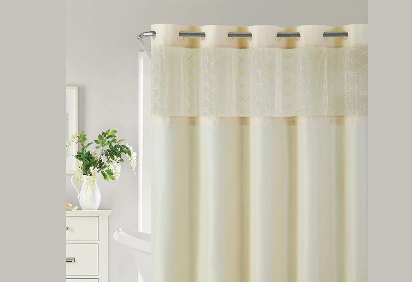 Hookless® Downtown Soho Shower Curtain Includes Snap On/Off Replaceable Liner - Vanilla