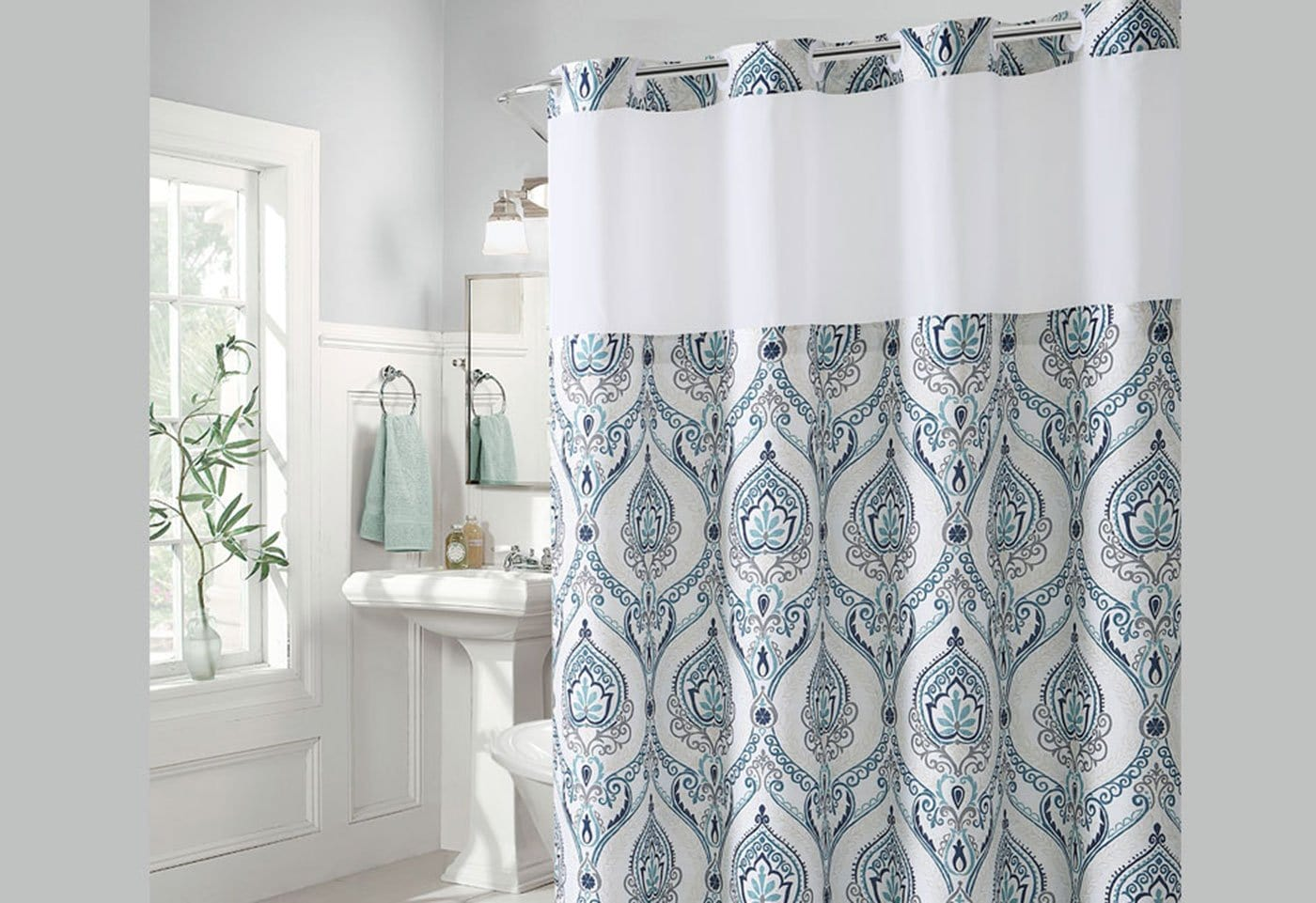 Hookless French Damask Print Shower Curtain Surefit