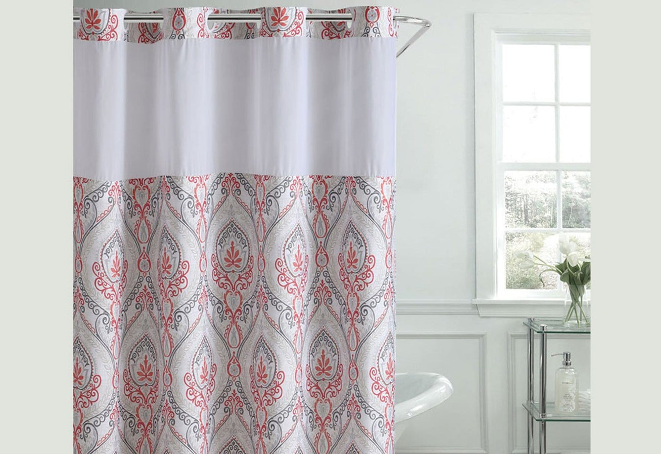Hookless 174 French Damask Print Shower Curtain Surefit
