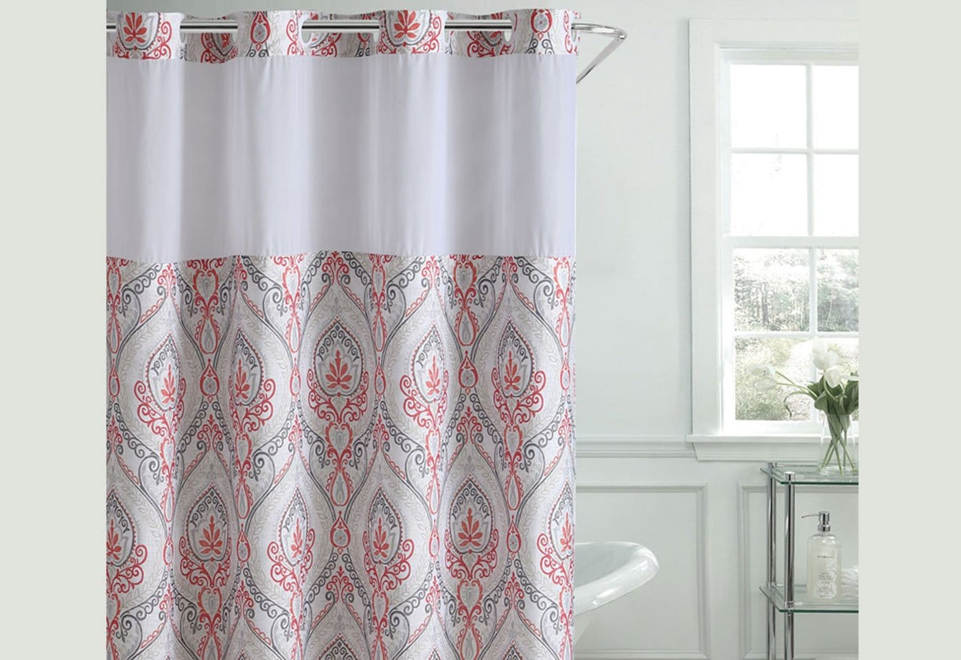 Hookless French Damask Print Shower Curtain