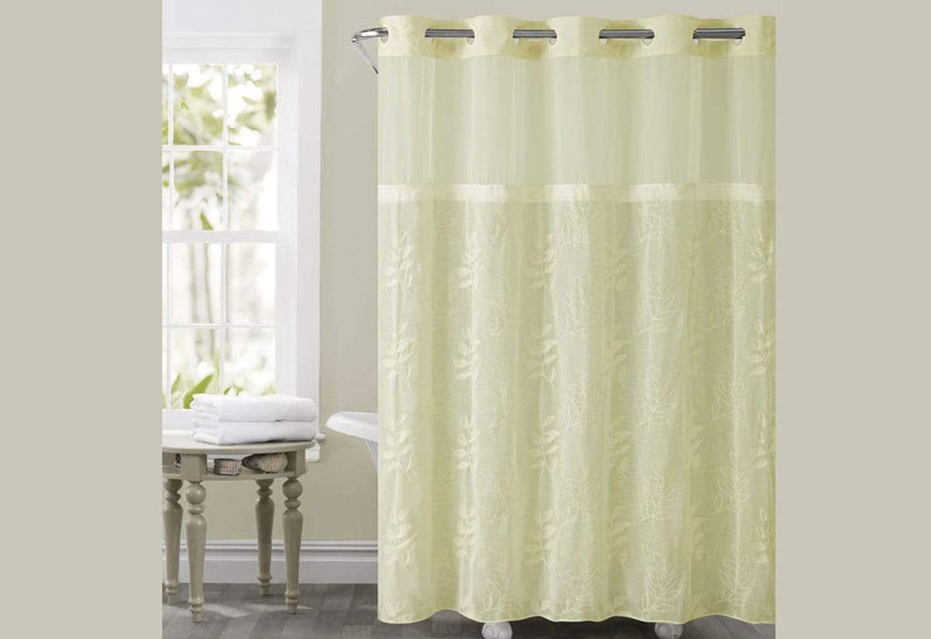 Hookless Palm Leaves Shower Curtain Ivory Shower