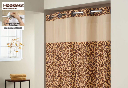 Hookless Plain Weave Animal Shower Curtain