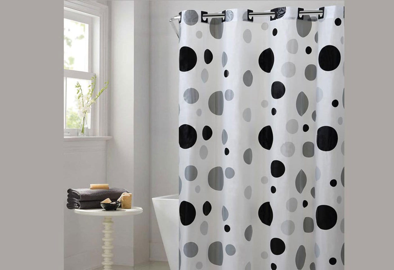 Hookless Retro Dots Shower Curtain