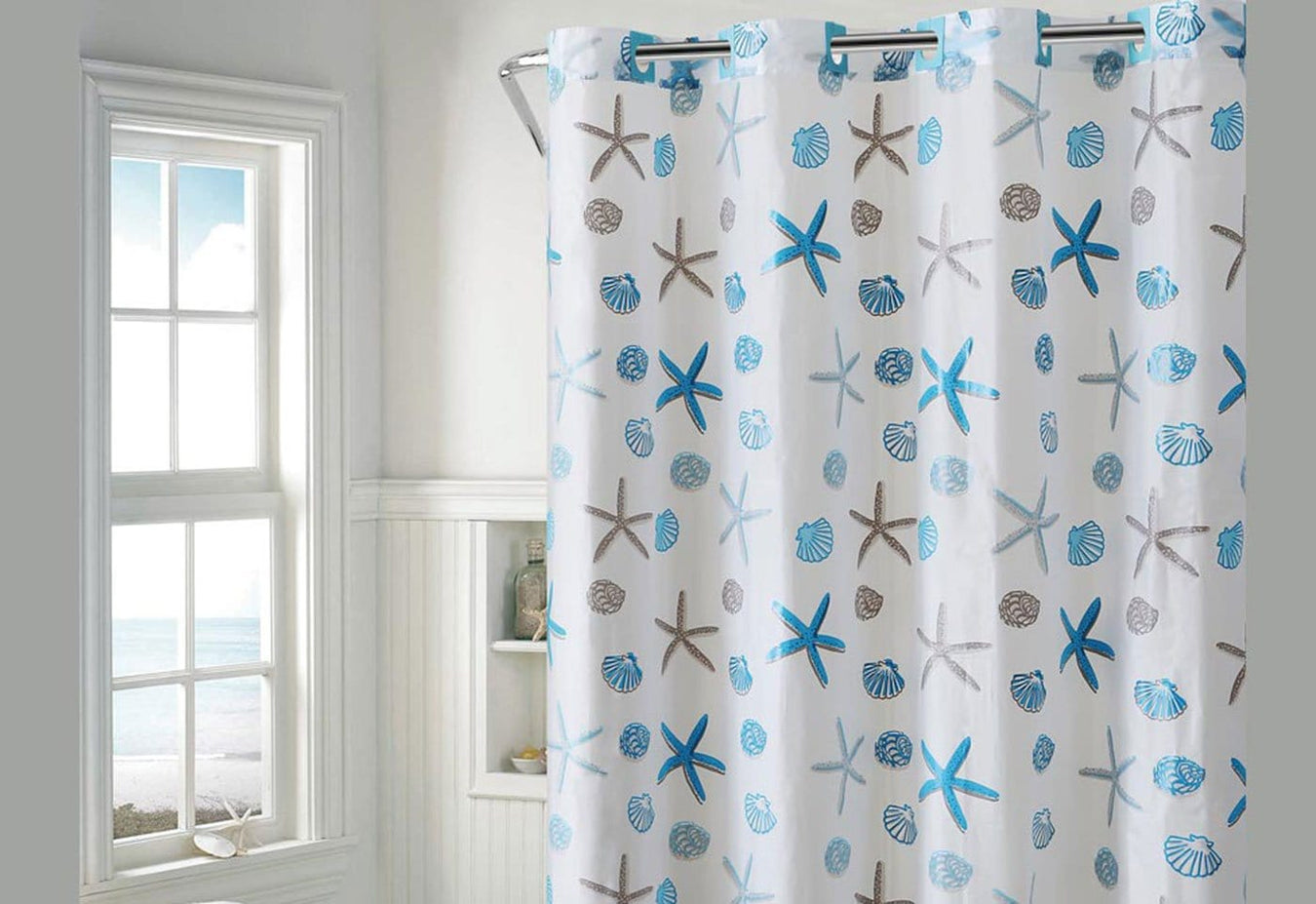 Hookless Seashell Shower Curtain