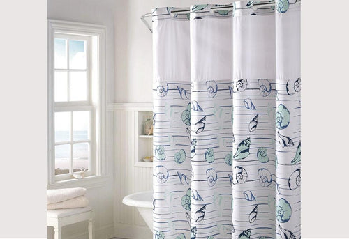 Hookless Seashell Stripe Shower Curtain