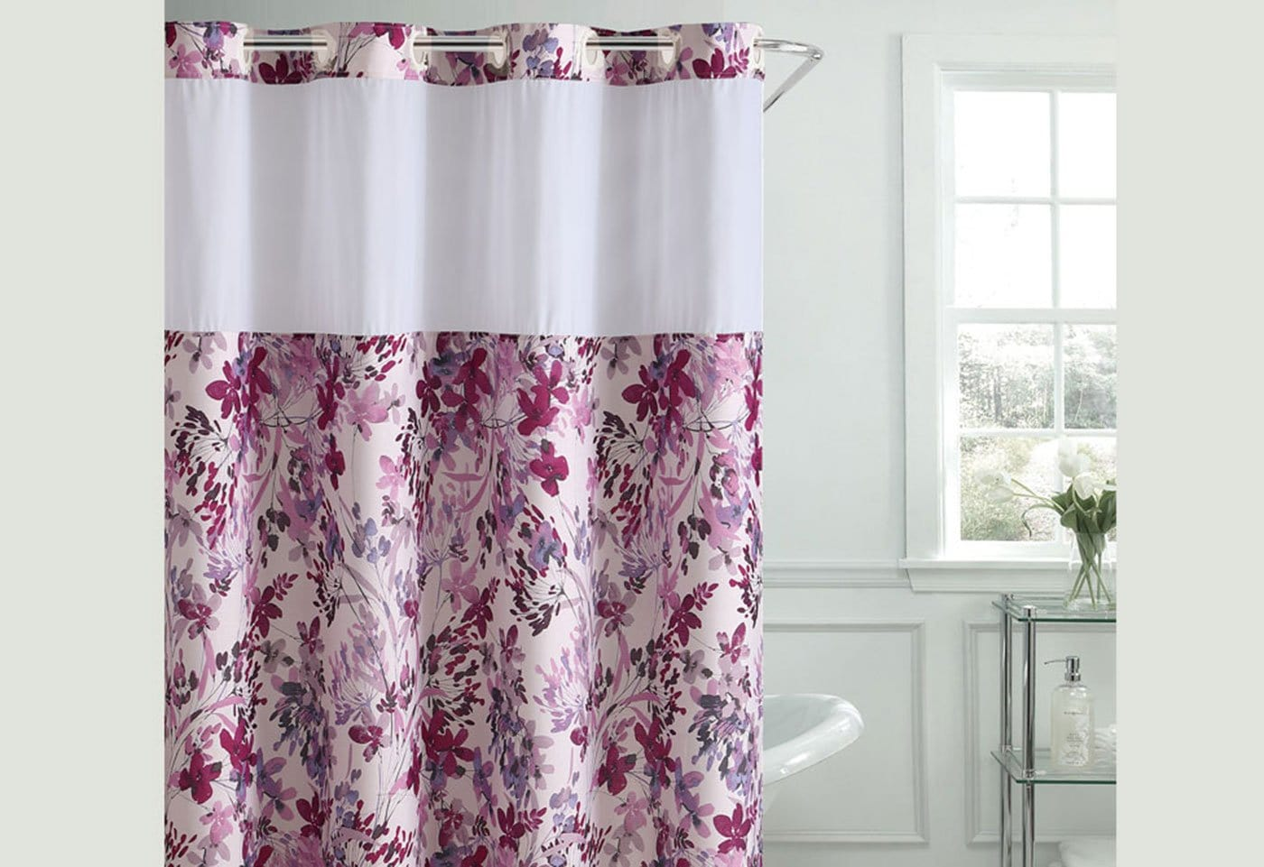 Hookless Watercolor Floral Print Shower Curtain Surefit