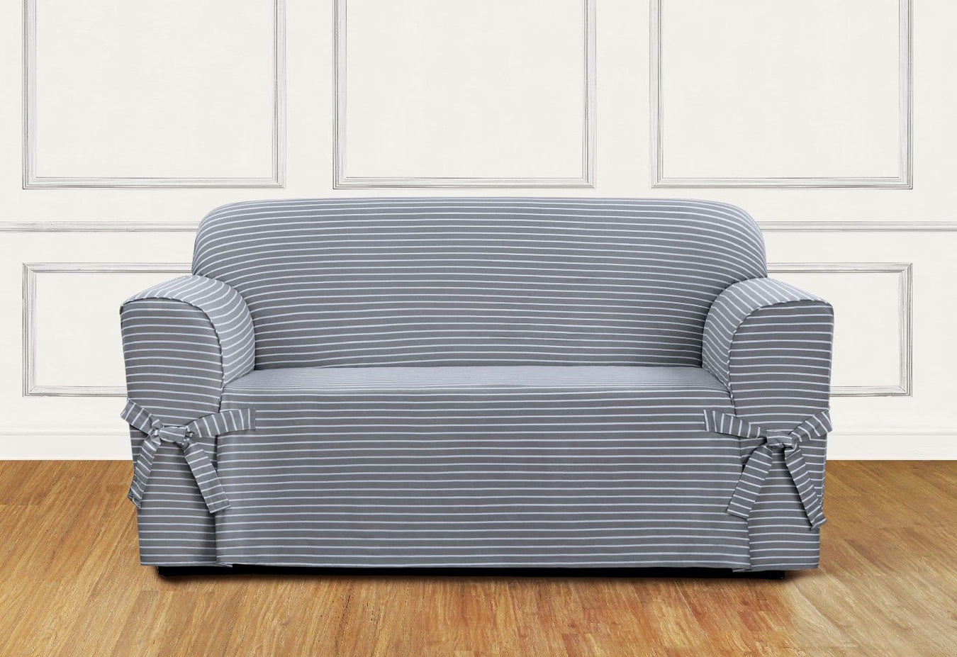 Horizontal Club Stripe One Piece Loveseat Slipcover with Ties