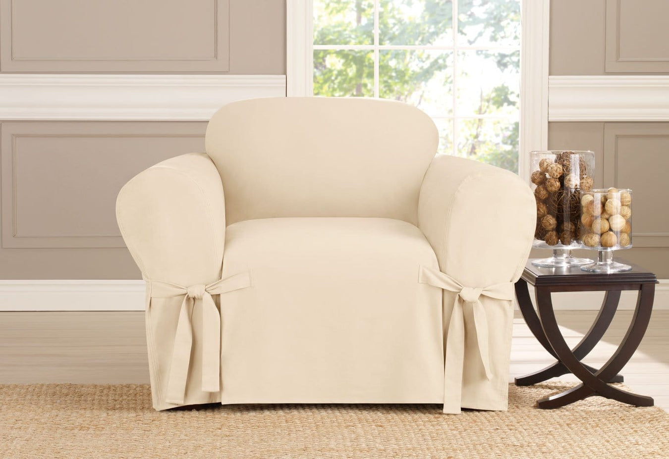 Heavyweight Cotton Duck One Piece Chair Slipcover