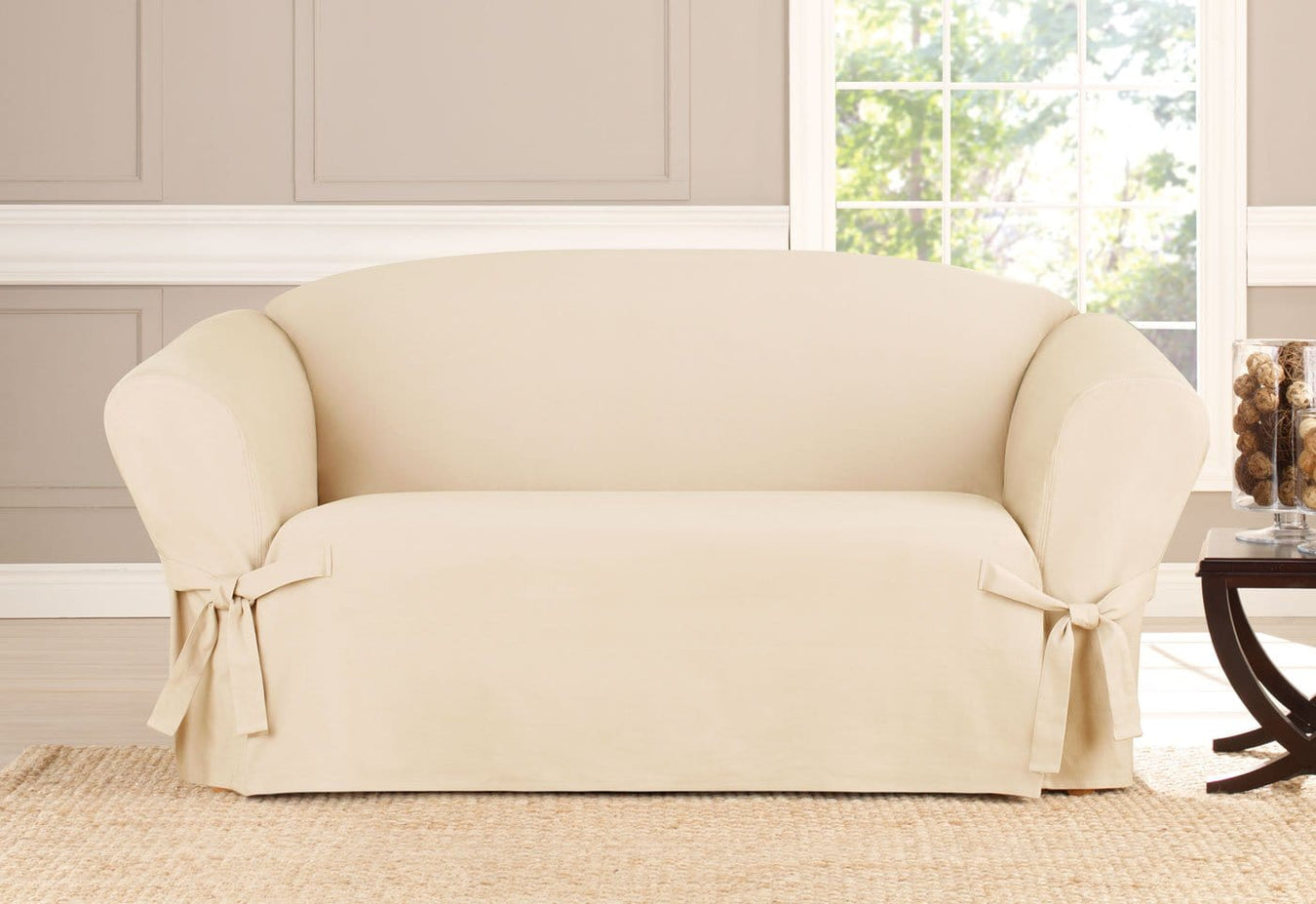 Heavyweight Cotton Duck One Piece Loveseat Slipcover