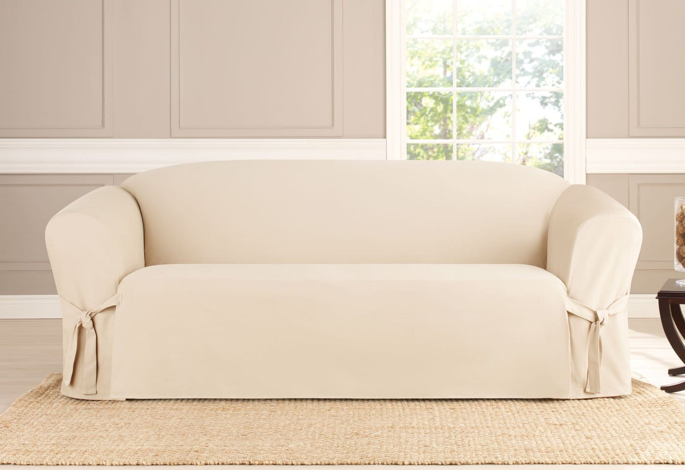 Heavyweight Cotton Duck One Piece Sofa Slipcover Surefit