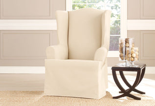 Cotton Duck One Piece Wing Chair Slipcover Surefit