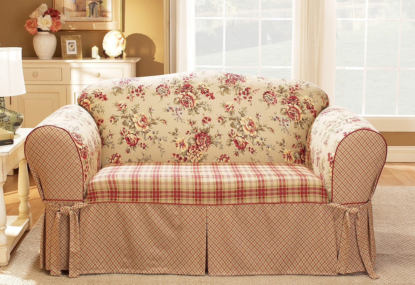 Pleasing Lexington One Piece Loveseat Slipcover Ncnpc Chair Design For Home Ncnpcorg