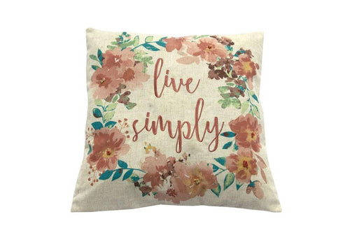 Live Simply Floral Wreath   20 inch square Decorative Pillow
