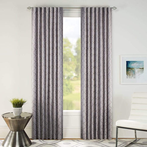Macau Embroidered Drapery Panel Pair Gray