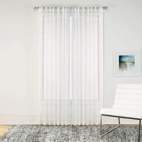 Macau Embroidered Sheer Panel Pair White