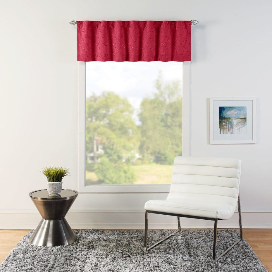 Macau Embroidered Window Valance Red