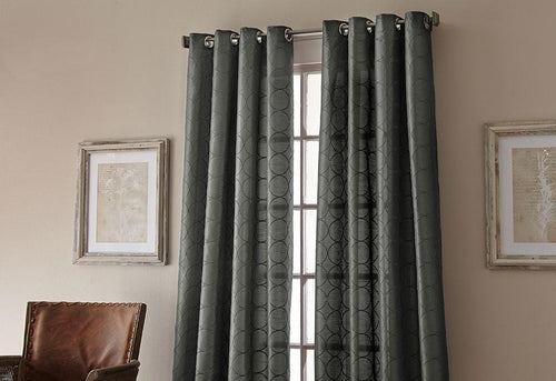 Manhattan Grommet Top Embroidered Window Curtain Panel Steel