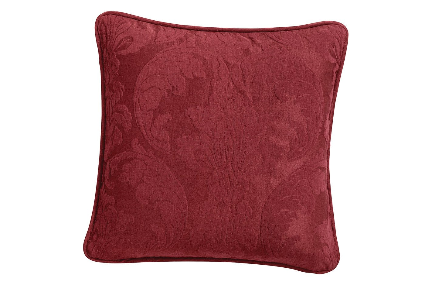 Matelasse Damask 18 Inch Square Coordinating Pillow - 18 x 18 / Chili