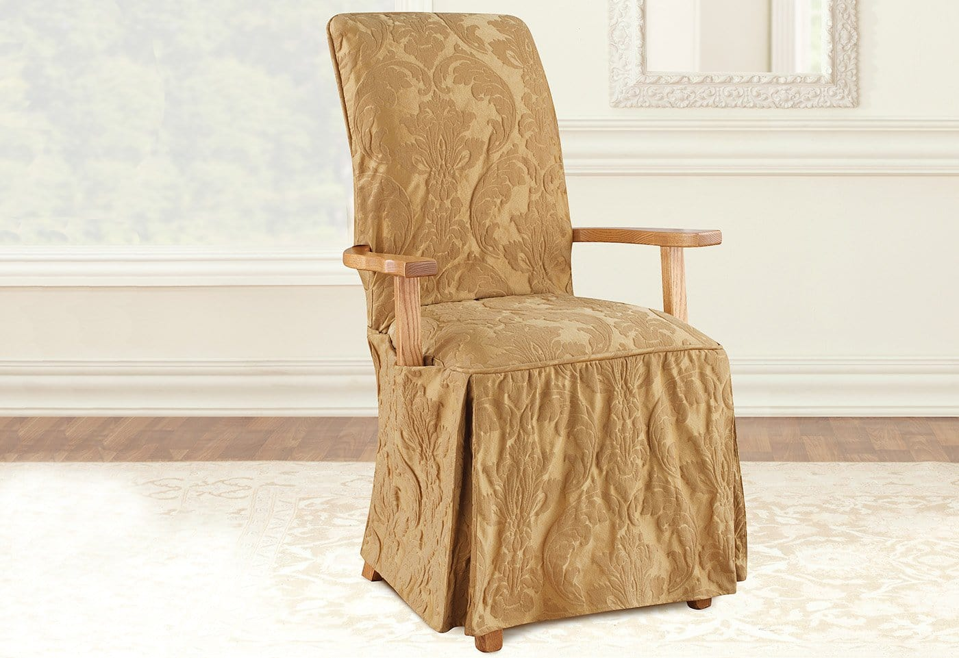 Chair Slipcovers With Arms. Matelasse Damask Long With Arms Arm Dining Chair  Slipcover Slipcovers